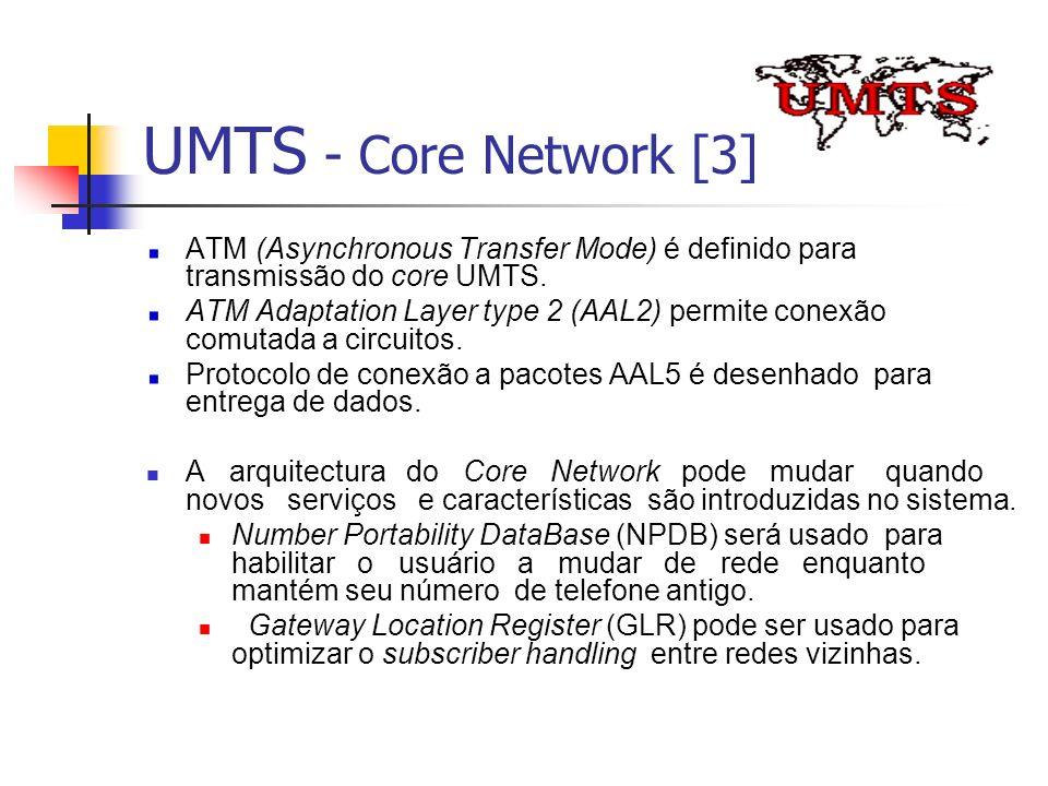 UMTS - Core Network [3] ATM (Asynchronous Transfer Mode) é definido para transmissão do core UMTS.